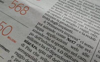 Net7 a Primavera d'impresa menzionata sul quotidiano La Repubblica